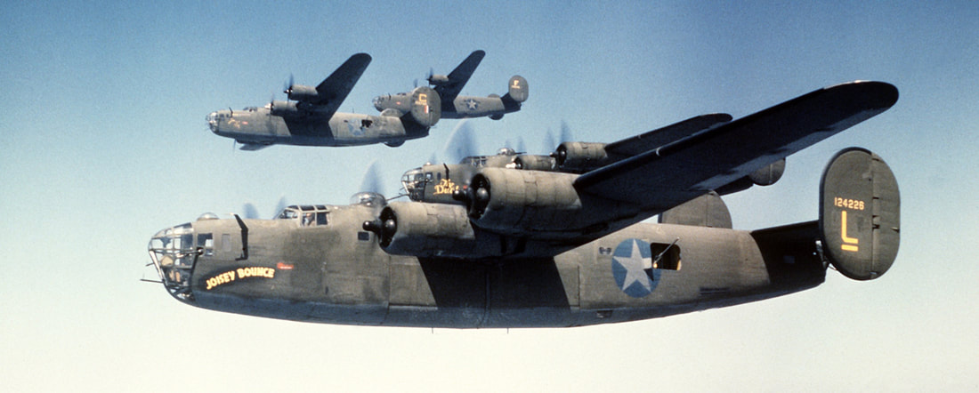 Four B-24s in Formation